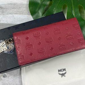MCM Klara Two food wallet monogram leather red